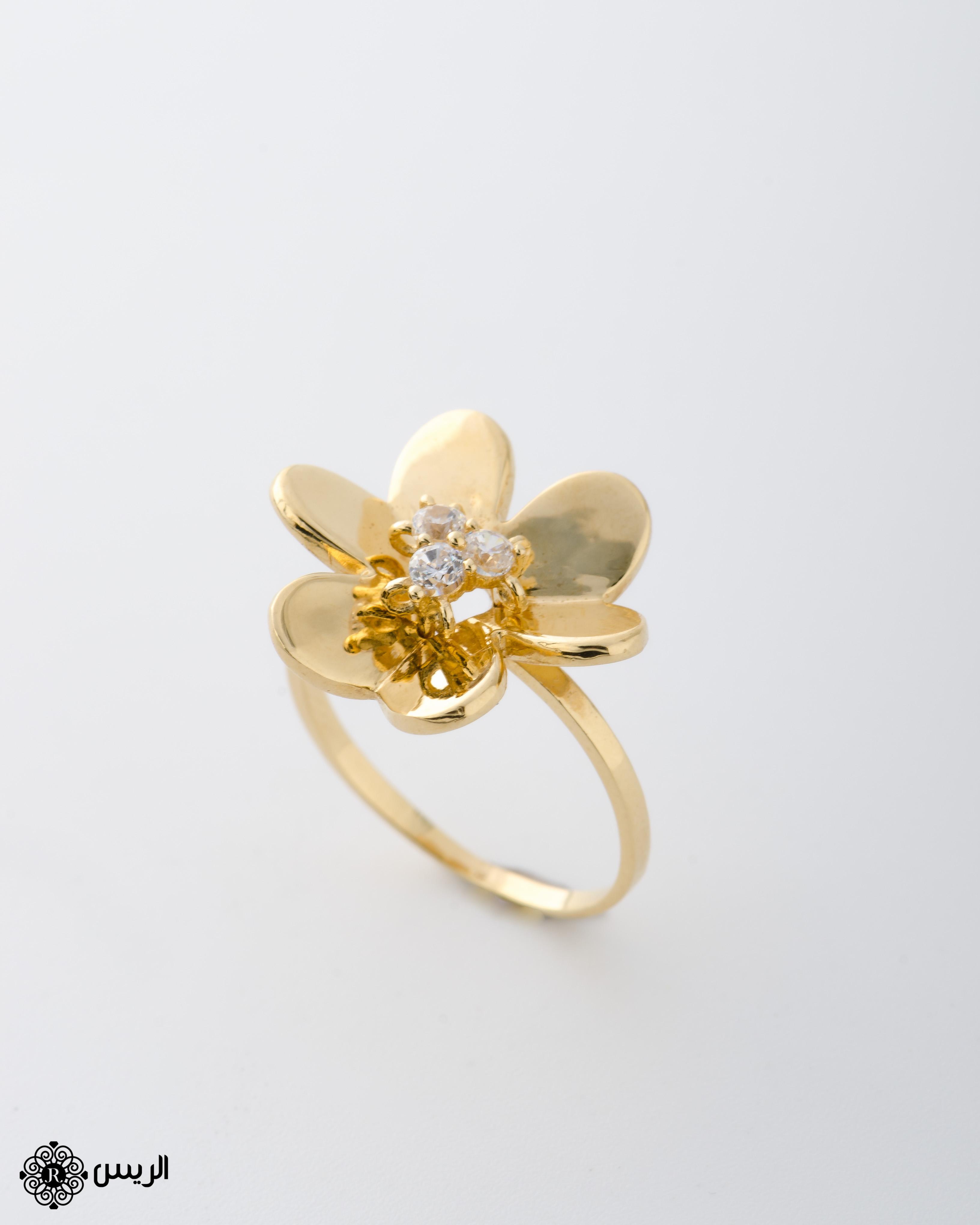 Raies jewelry Delicate Flower Ring خاتم ورده ناعم الريس للمجوهرات