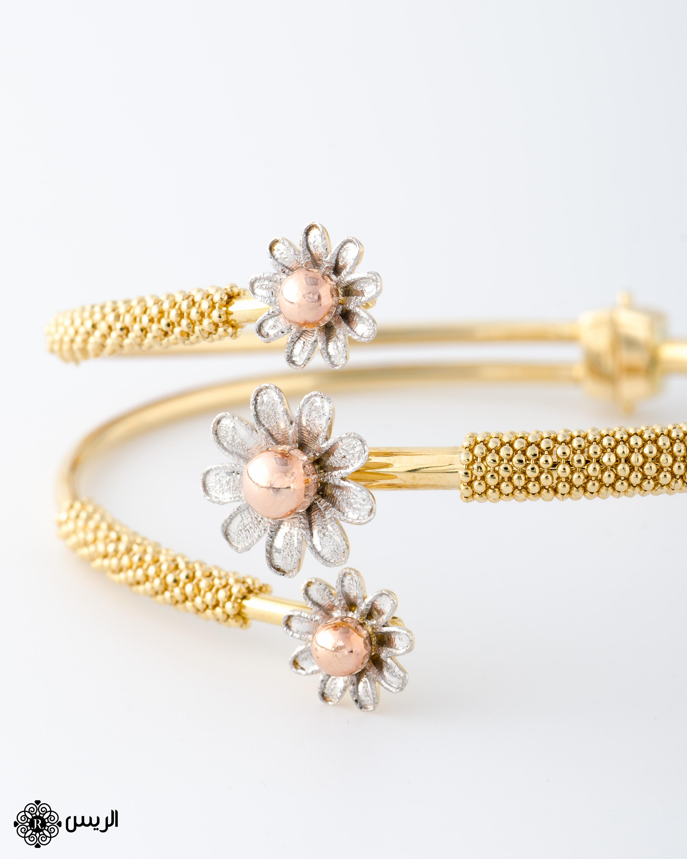 Raies jewelry Bangle Italian Design with Flowers إسورة وردات تصميم إيطالي الريس للمجوهرات