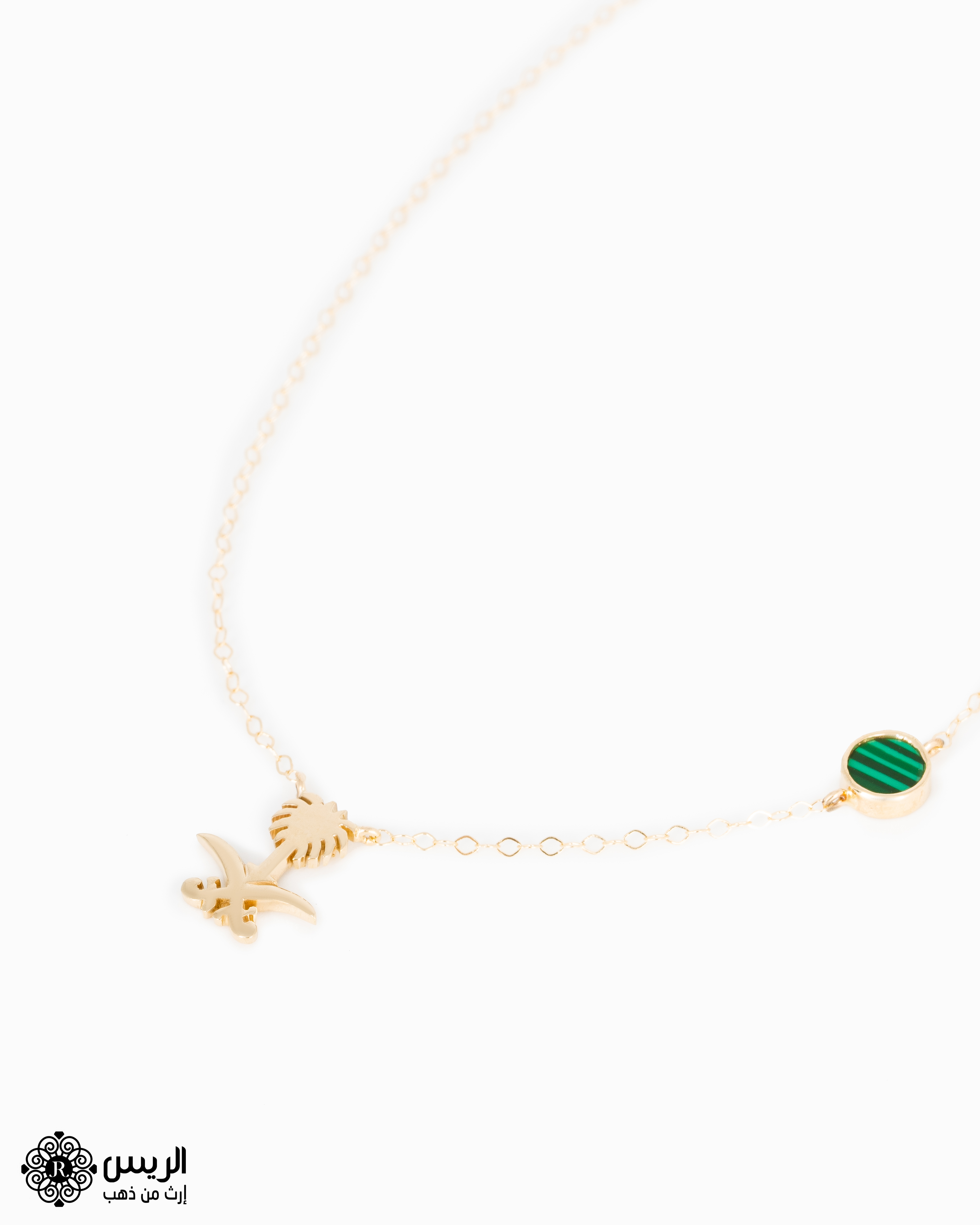 Raies jewelry Two Swords and Palm Tree Necklace تعليقة مع سلسلة سيفين و نخلة الريس للمجوهرات